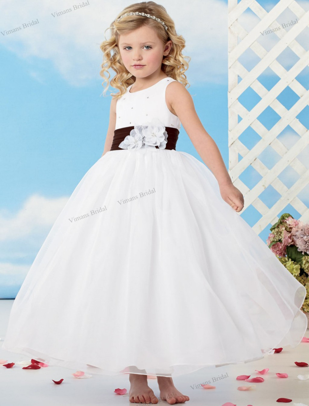 2015 Free Shipping White Flower Girl Dress Ball Gown