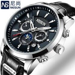Szwajcarski nesun luksusowej marki zegarki mężczyźni wielofunkcyjny wyświetlacz automatyczny zegarek mechaniczny Luminous wodoodporny zegar N9807 7|clock brand|clock waterproofclock luminous -