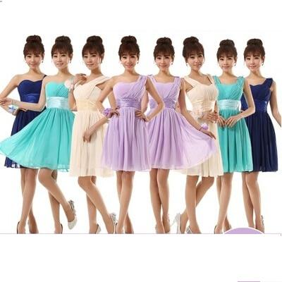 2016 New Bridesmaid wedding One shoulder Prom Maxi Dresses chiffon Bridesmaid  Dress h2 Adult Junior Knee length short clothes 77f39e381ee9