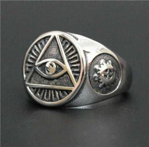 ขนาด 8 ~ 14 Cool Eye Lucky แหวน 316L สแตนเลสคุณภาพสูง Biker Fantastic บุรุษดูตาแหวน