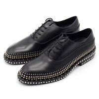 Мужская кожаная обувь ручной работы с заклепками; мужские кожаные туфли на низком каблуке с кружевом; БЛАГОРОДНАЯ Мужская обувь мужские бот