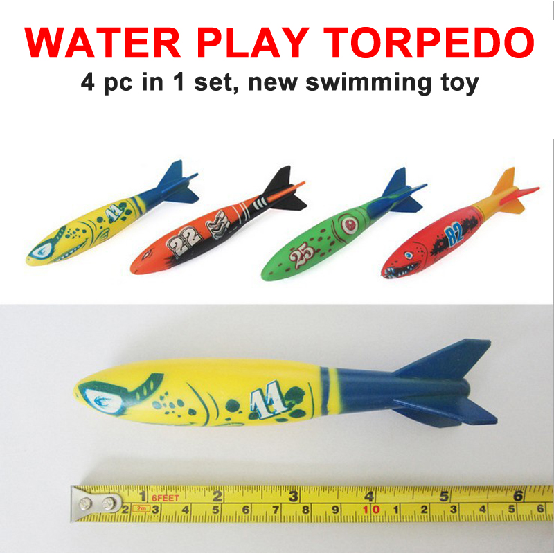 4pcs/set New summer outdoor swimming pool throw deliver launch glide toy torpedoes play water dive Children/adults toy free ship
