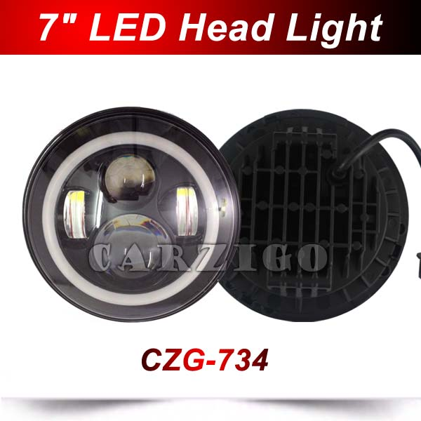 CZG-734A 7 Round LED Headlight with hi/low beam White+Amber Halo Angel Eye DOT Emark For Harley for Jeep Wrangler for Defender