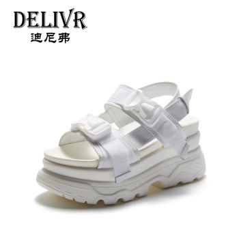 Delivr Platforms Women'S Sandals White Splice Fashion Thick Sole Casual Ladies Sandals 2019 Summer Sandal Women Schoenen Vrouw