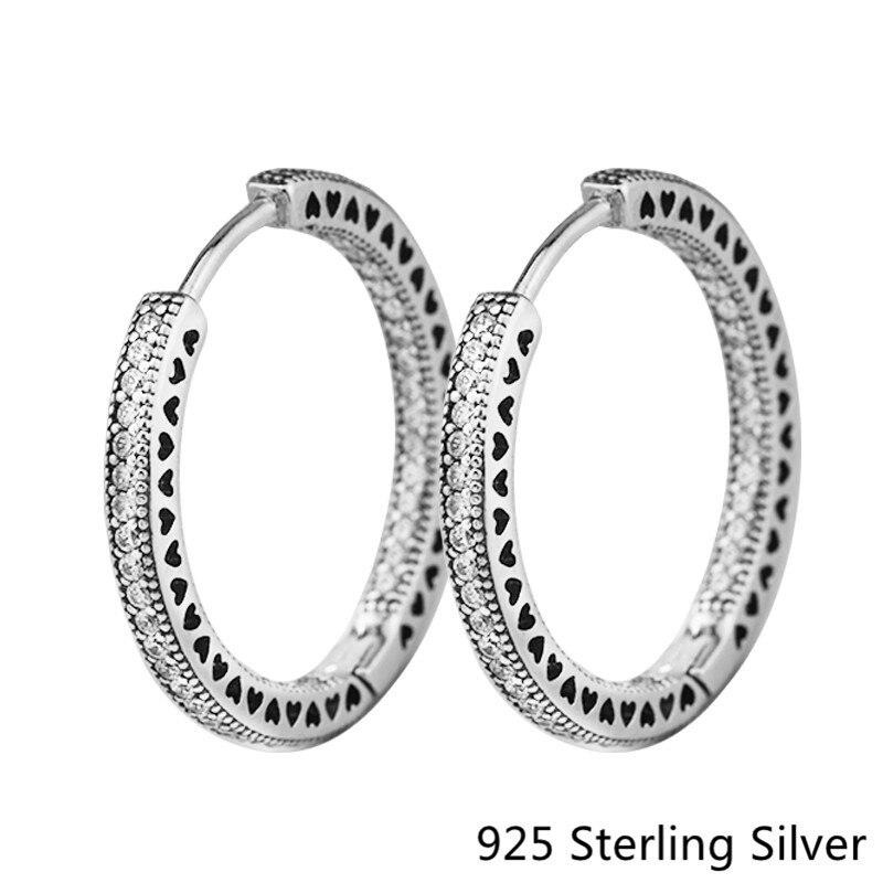 2017 New European Style Jewelry Original 925 Sterling Silver Hoop Earrings Hearts For Women Fashion Charm DIY making