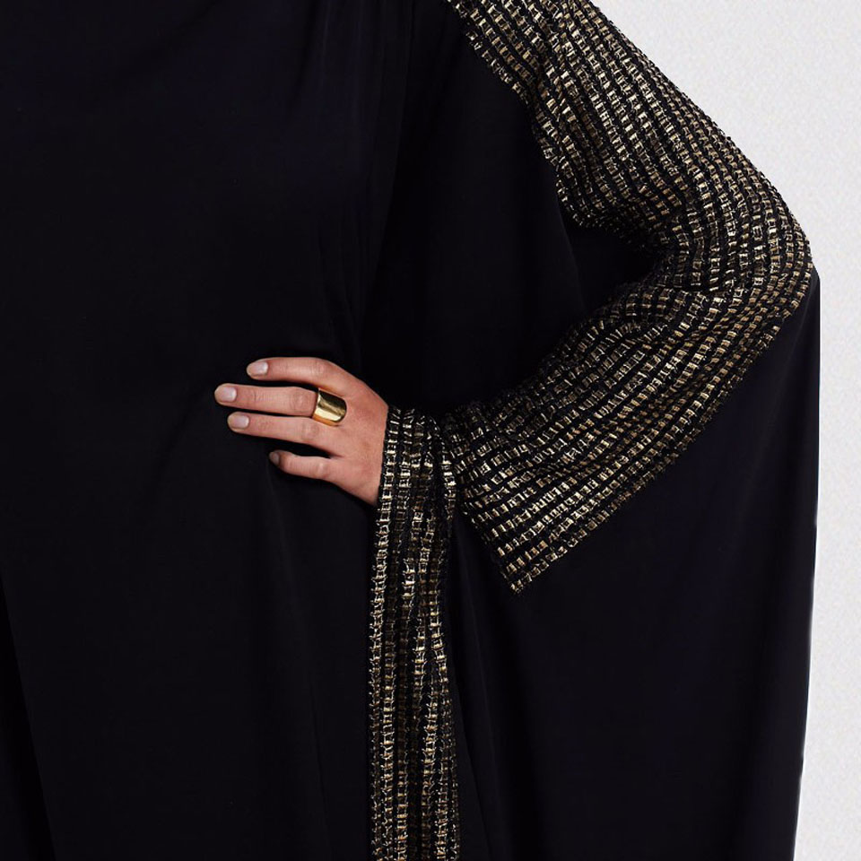Arab Elegant Loose kaftan Moroccan Dresses Islamic Fashion Muslim Abaya Dress Women's Black Dubai Abaya Muslim Bat Sleeve Prayer