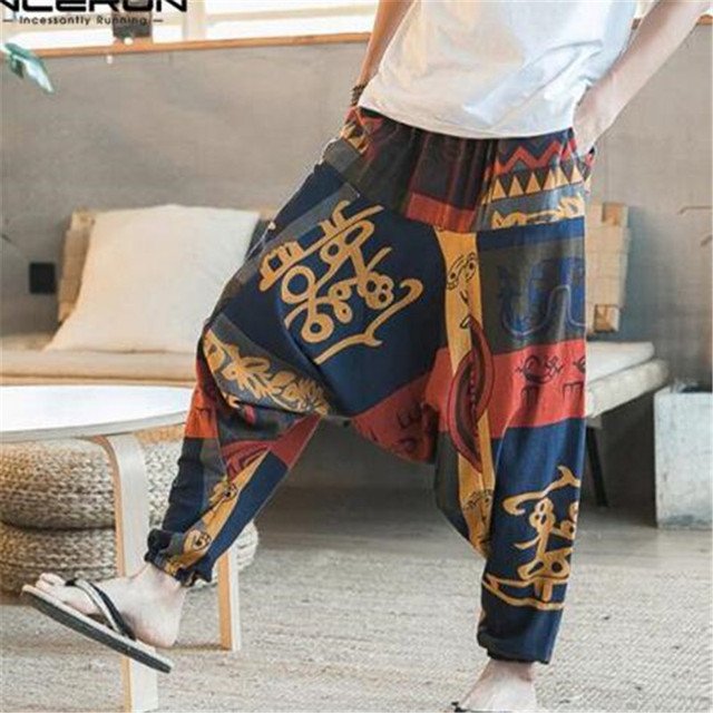 Yeni Hip Hop Aladdin Hmong Baggy Pamuk Keten harem pantolon Erkek Kadın Artı Boyutu Geniş Bacak Pantolon Yeni Boho Casual Pantolon çapraz-pantolon