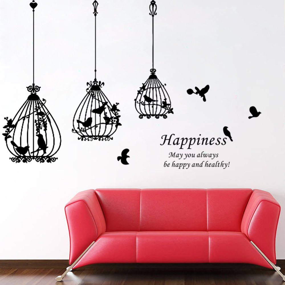 Galleria fotografica beautiful Birdcage black bird flower words <font><b>Happiness</b></font> <font><b>home</b></font> decal wall sticker wedding decoration gift lage stickers for bedroom