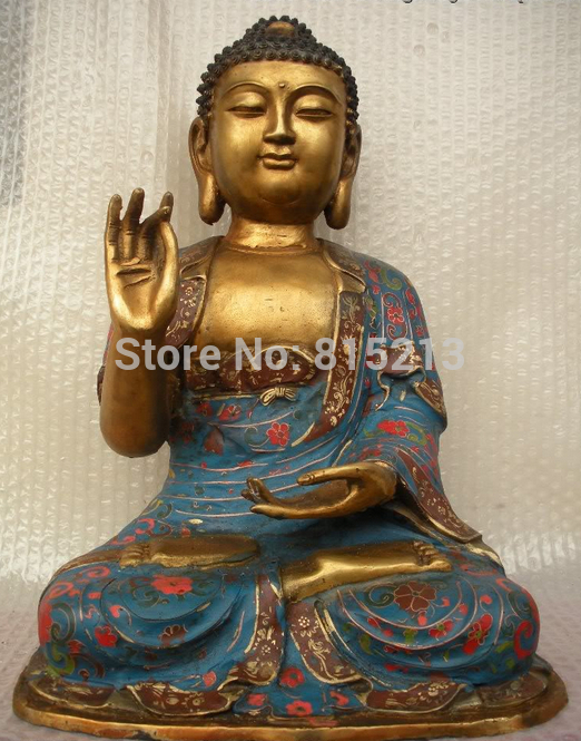 Bi00946 Monastero Tibetano Folk cloisonne bronzo Gild Sakyamuni Tathagata Buddha StatueBi00946 Monastero Tibetano Folk cloisonne bronzo Gild Sakyamuni Tathagata Buddha Statue