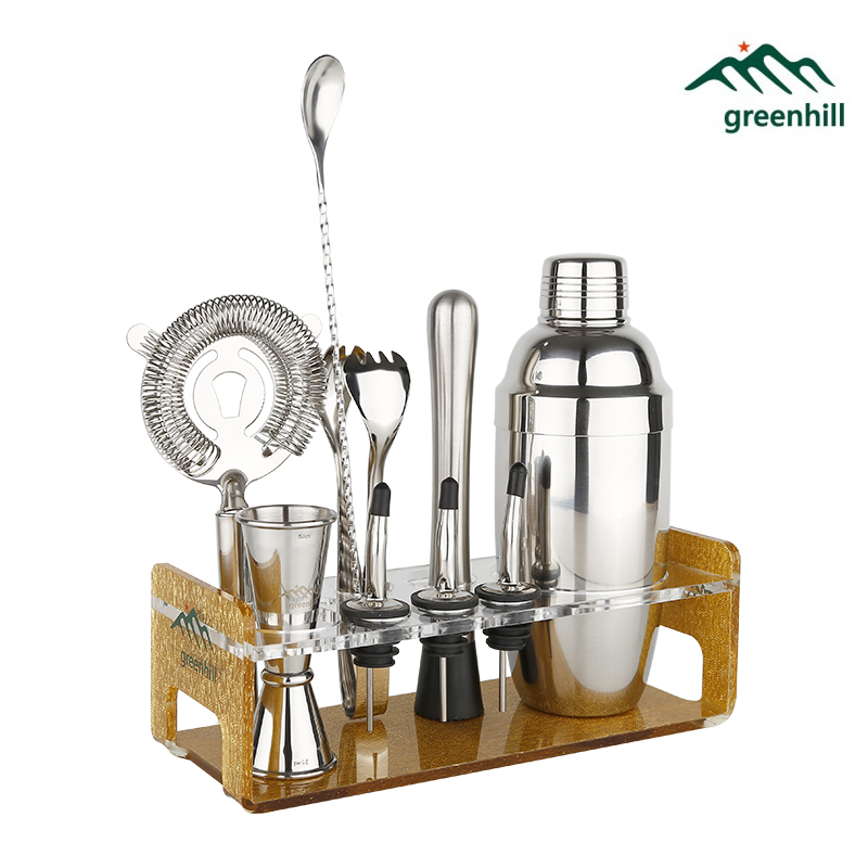 Set di attrezzi per bar Greenhill Premium / Kit shaker per cocktail da 10 pezzi (18/8), Muddler, Jigger, Spoon, Pourer, pinza per ghiaccio e supporto