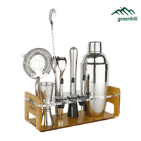 Greenhill Premium Bar Tool Set / 10 Pieces Barware Cocktail Shaker Kit (18/8), Muddler, Jigger, Spoon, Pourer, Ice tong & Stand