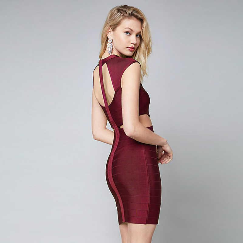 Дешевые бордовый черный выдалбливают вырез бюст талии сексуальная рукавов Утягивающее облегающее платье мини вечерние платья для женщин Bodycon платья для 2019