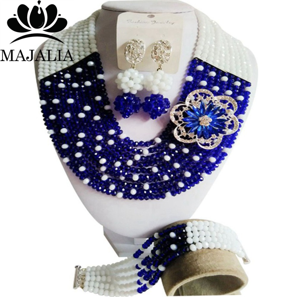 Majalia Fashion Nigeria Wedding African Beads Jewelry Set Royal blue and White Crystal Necklace Bridal Jewelry Sets 10CS009-in Bridal Jewelry Sets from Jewelry & Accessories    1