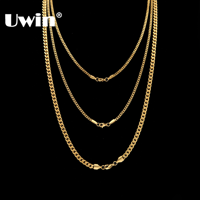 Uwin Top Quality Stainless Steel Necklace Cuban Link Chain Gold Steel  3mm 5mm Hiphop Fashion Jewelry Wholesale b0ea653fdf70