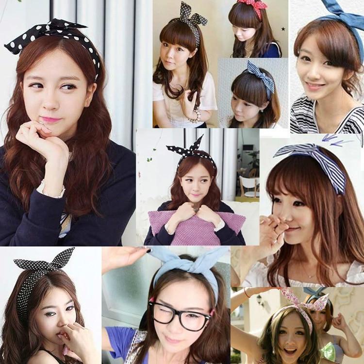 1Pc Cute Korean Dots Bunny Rabbit Ear Ribbon   Headwear   Hairband Metal Wire Scarf Headband Hair Band Accessories Dropshipping