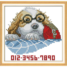 A dog with glasses small picture Set for embroidery stitch 14CT DIY Needlework D
