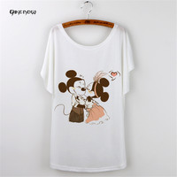 Qikenow 2018TX 022 Casual Summer Funny T Shirts Fashion Print Mickey Plus Size Camiseta Feminina Bat