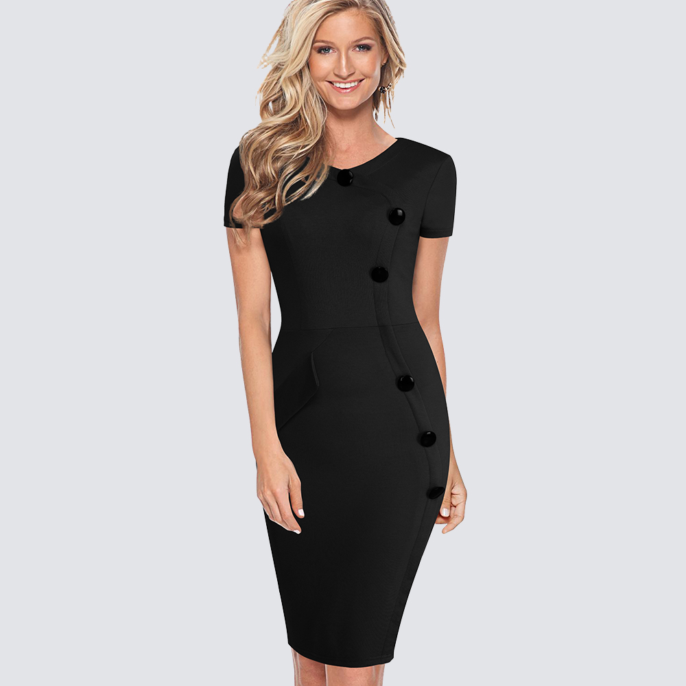 Elegant Women Short Sleeve Sheath Slim Fitted Bodycon Black Pencil Career Office Lady Summer Dress 1H531 ...