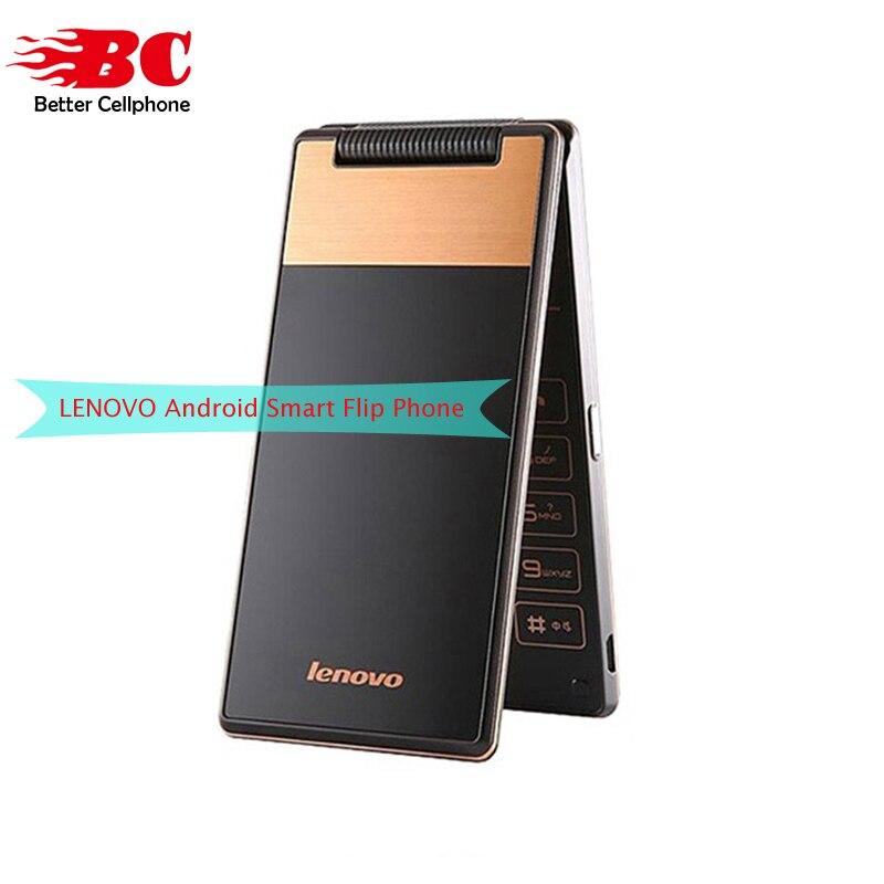 New Original Lenovo A588T Cellulaire Supérieurs Téléphone Android 4.4 MTK6582 Quad Core 512 mb RAM 4g ROM 5MP Caméra 360 degrés vieux flip téléphone