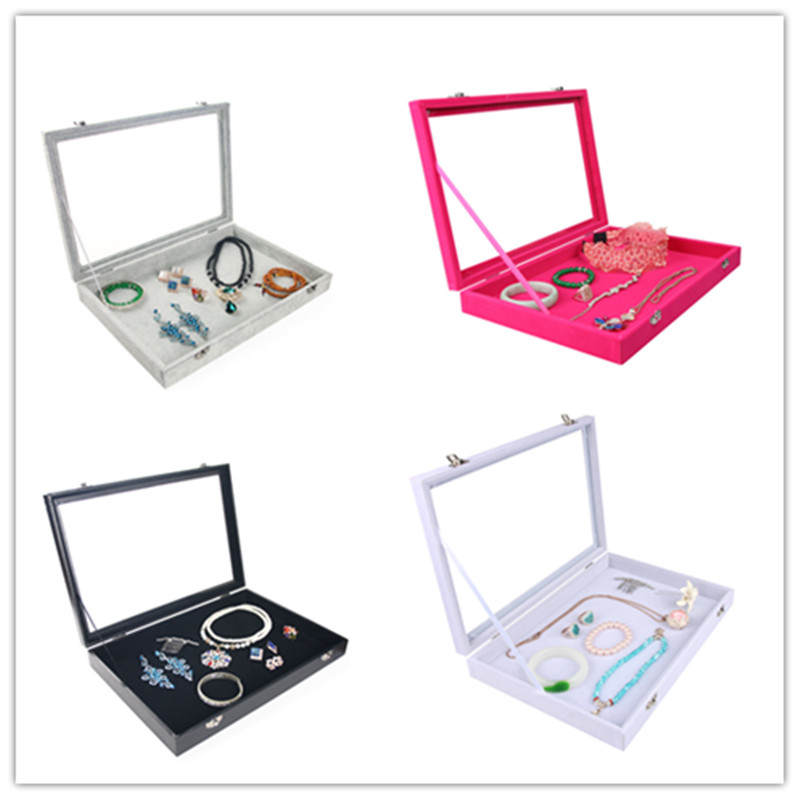 4 Colors Velvet Earrings Ring Bracelets Organizer Ear Studs Jewelry Glass Display Showcase Plate 35*24*4.5cm(L*W*H)