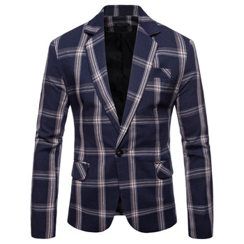 British Slim Fit Mens Casual Blazer Jacket Suit Check Design Blazer Classic Mens Tailored Suit Jacket Party Dinner Suit Jacket