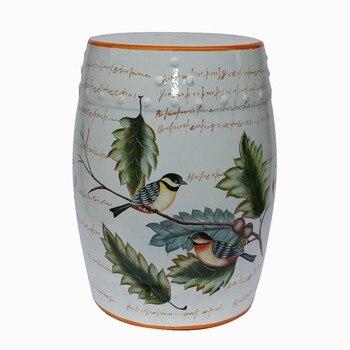 Arredamento interno bianco cinese di ceramica h18inches sgabello da giardino con fiori e uccelli progettazione|Sgabelli e ottomane|Mobili - Youngsjdz Ceramic Store