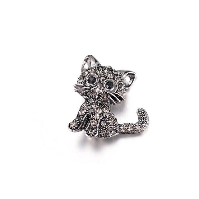 OPPOHERE Nuovo Nero di Modo Di Cristallo Cute Cat Spille Donne Pin Up Spilla Accessori