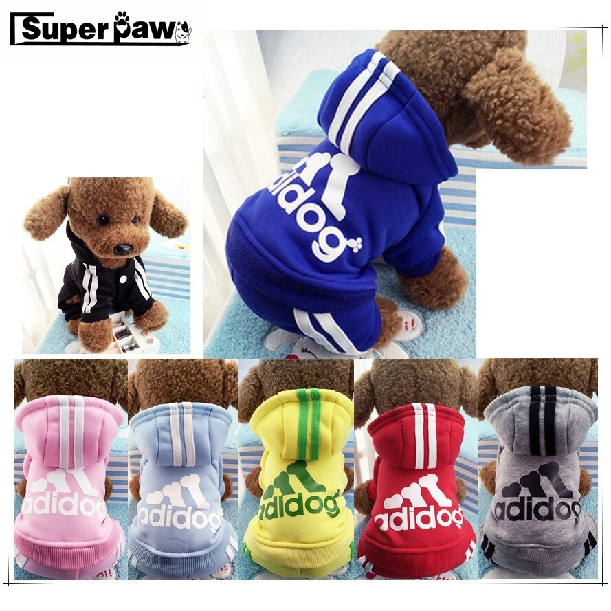 Adidog Winter Warm Dog Clothes Pet Clothing suits Cartoon Sports Jacket Apparel Hoodie For Small Dogs