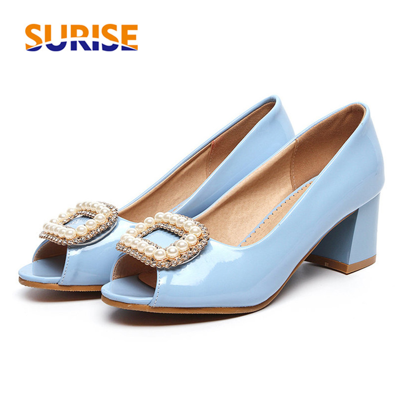 Casual Summer Woman Pumps 5.5cm Medium High Block Heels Peep Open Toe Patent Leather Pearl Buckle White Party Wedding Lady Shoes