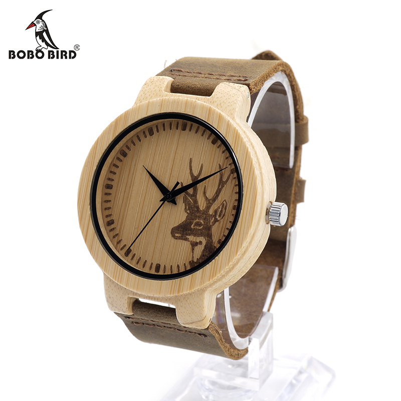 BOBO BIRD V-D14 Engraved Deer Bamboo Watch Mens Quartz Japan Movement 2035 Wristwatch with Leather Strap for Dropshipping  bobo bird f08 mens ebony wood watch japan movement 2035 quartz wristwatch with leather strap in gift box free shipping