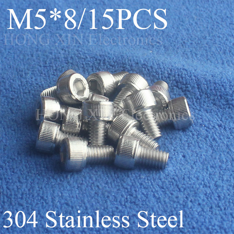 15Pcs M5*8 304 Hexagon Socket Head Cap Screws Hex Socket Screw Furniture Metric Bike Bolt screw set stainless steel screws Bolt m4 x 12mm alloy steel hex bolt socket head cap screws black 50 pcs
