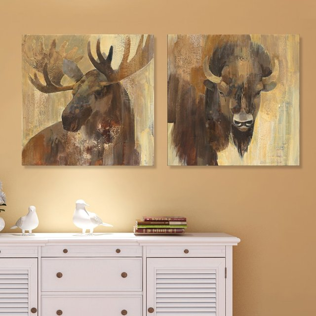 Animal Selvagem Elk Yak Giclée Impresso Lona Pintura Art Home Decor Parede Pictures Para Sala