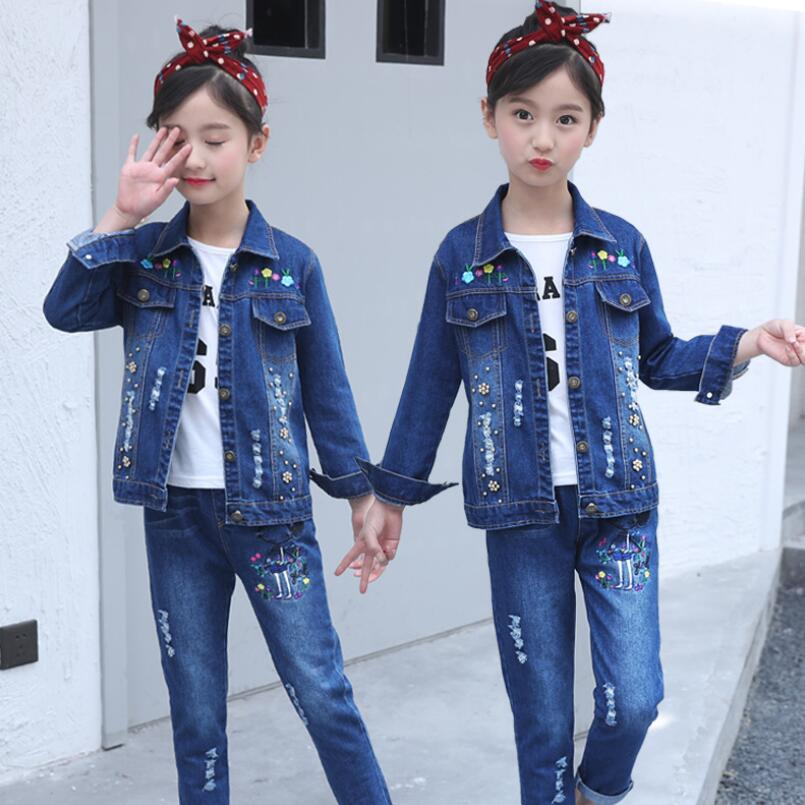 girls denim clothes sets