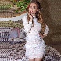 wholesale 2019 Newest Women White lace Long sleeve feather Fashion mini Leisure Celebrity Cocktail party dress(L2836)