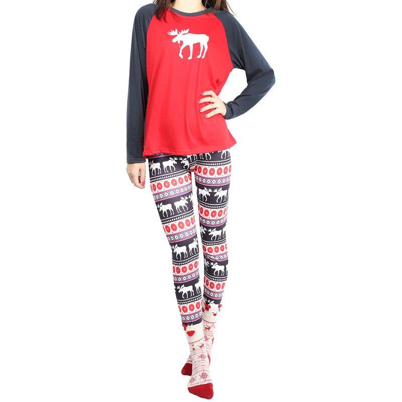 BKLD Warm Christmas Red Pajamas Set Xmas Women Casual Sleepwear 2018 Clothing Sets Long Sleeve Deer Printed Tops+Trousers S-2XL