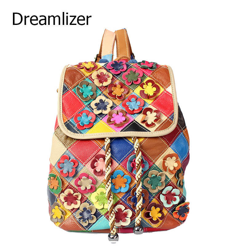 New 2017 Rainbow Color Women Leather Backpacks Female School Bags Students Backpack Ladies Women s Travel