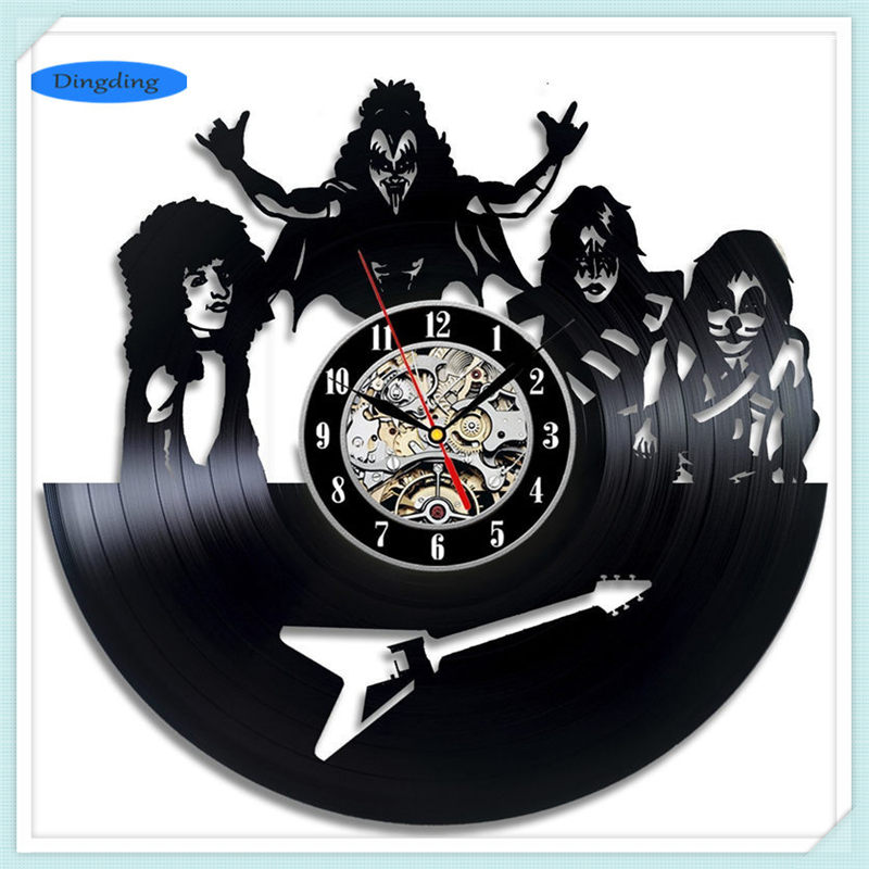Xmas Gifts KISS Band 3D Art Mirror Wall Clock Vinyl Record Wall Sticker Art Home Decor