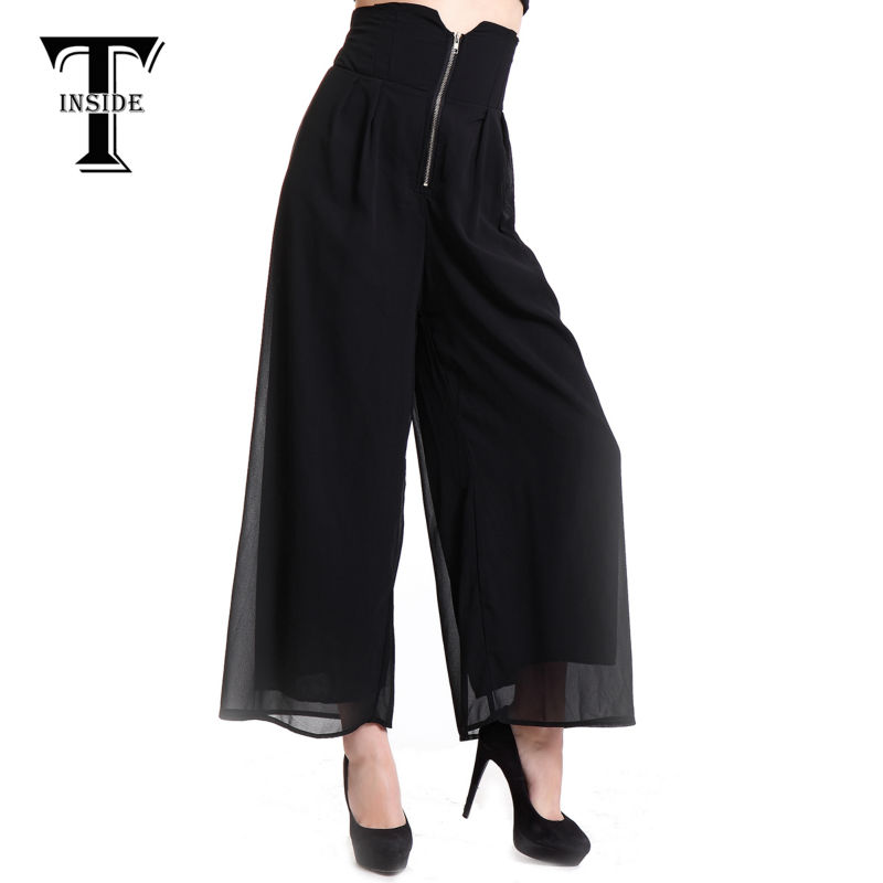 T-INSIDE New Arrived Brand Casual Loose Womens Wide Leg Pants Black Long Pants Palazzo Loose Trousers S/M/L DSB-500 ...