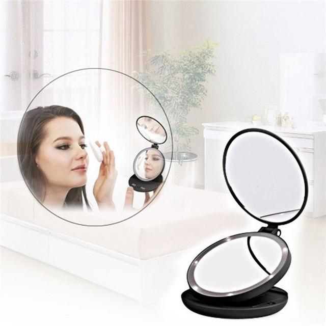 Moda Portátil Plegable Lámpara de Mesa LED Luminoso Espejo de aumento de Doble cara Espejo de Maquillaje con la Caja Al Por Menor