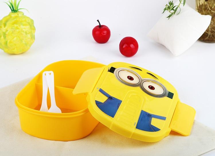 Brezplačna dostava 1kom Cute Cute Minions Mikrovalovna pečica Bento zabojnik primeru s plastičnimi Prenosni Lunch Boxes za študente  t