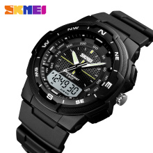 SKMEI Outdoor Sports Digital Watch Mens Dual Display Electronic Wristwatches Waterproof PU Strap Military Clock Montre Homme