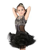 Shiny Crystal Tassels Sleeveless Latin Performance Dress Girls Children Sexy Mesh Splice Fluffy Skirt Ballroom Dance Dress