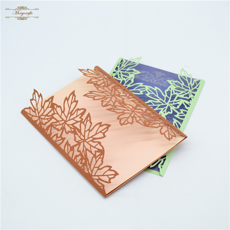Maple leaf pattern bronze color laser cut handmade wedding ...