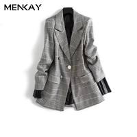 MENKAY European American 2018 Spring New Fashion Wild Lapel Long Sleeved Double Breasted Patchwork Leather