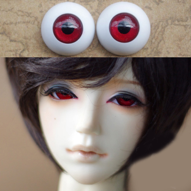 Deep red Doll eyes Plasit Bjd Eyes for BJD Dolls toys sd eyeball for 1/3 1/4 1/6 8mm 14mm 16mm 18mm 20mm Acrylic EYEs for dolls handmade chinese ancient doll tang beauty princess pingyang 1 6 bjd dolls 12 jointed doll toy for girl christmas gift brinquedo