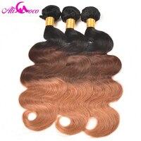 Ali Coco Ombre Brazilian Body Wave 1b 4 27 Three Tone Color 100 Human Hair Non