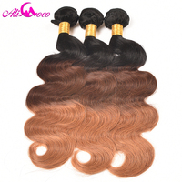 Ali Coco Ombre Brazilian Body Wave 1b/4/27 Three Tone Color 100% Human Hair Non Remy Hair Free Shipping 1 piece