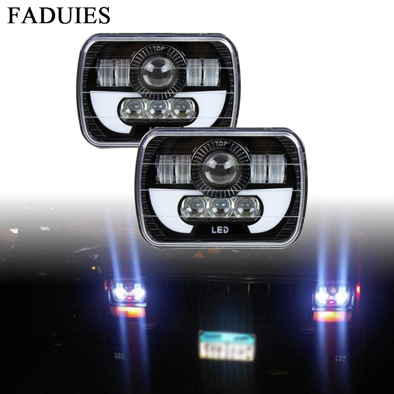 5x7 6x7 inch High Low Beam Led Headlights for Jeep Wrangler YJ Cherokee XJ H6054 H5054 H6054LL 69822 6052 With Angel Eyes DRL