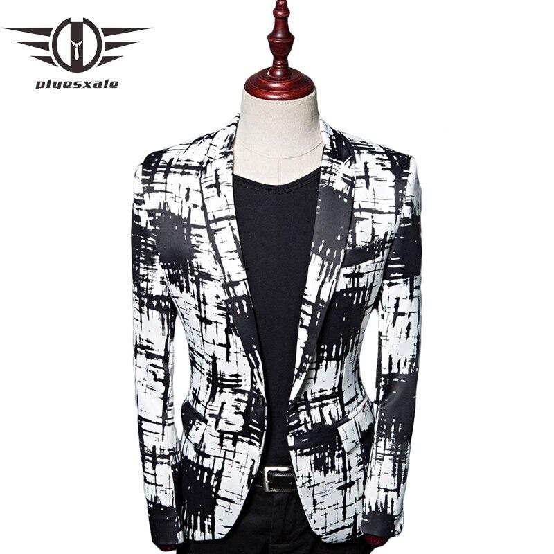 Erkek Kıyafeti'ten Blazerler'de Plyesxale Kontrast Renk Erkekler Blazer Tasarımları Moda Baskılı Mürekkep Stil Rahat Blazer Ceket Slim Fit Sahne Kostüm Homme Q462'da  Grup 1
