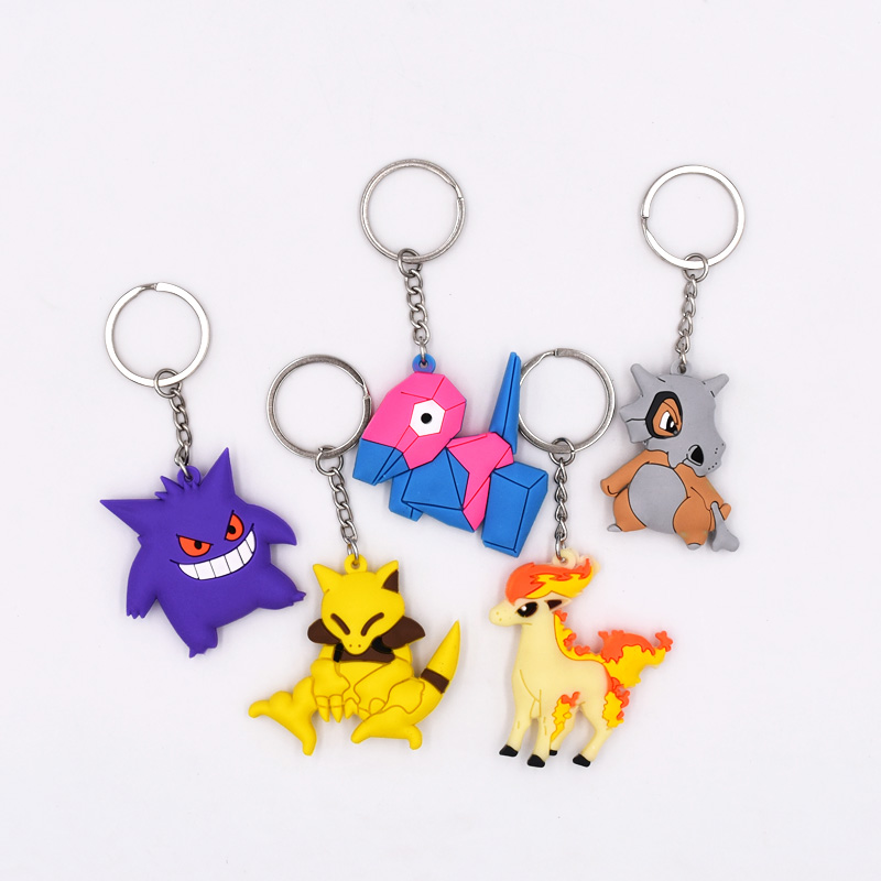 5Style New Arrival 4-6cm 3D Mini Figure Key Ring Cartoon Figures PVC Pikachu Cubone Porygon Abra Gengar Ponyta Keyrings